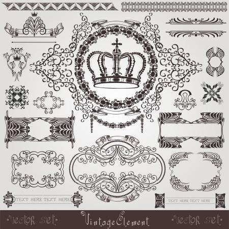 art nouveau royal label banner Vector