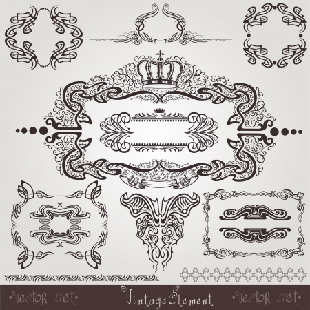 art nouveau frame label element Vector