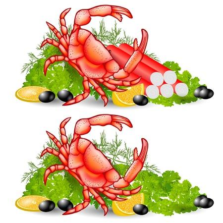 crayfish: crab food vegetable background Illustration