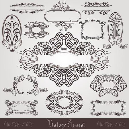 art nouveau label old banner element Vector