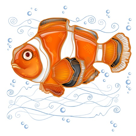 stencil fish clown cartoon Vector