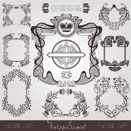 old art nouveau set label banner element Vector