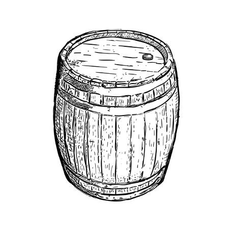 dessin au trait: vin de la bi�re Gravure baril Illustration