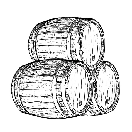 cognac: engraving wine beer barrel Illustration