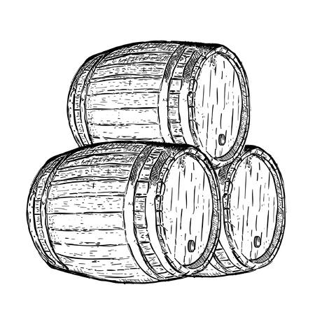 dark beer: engraving wine beer barrel Illustration