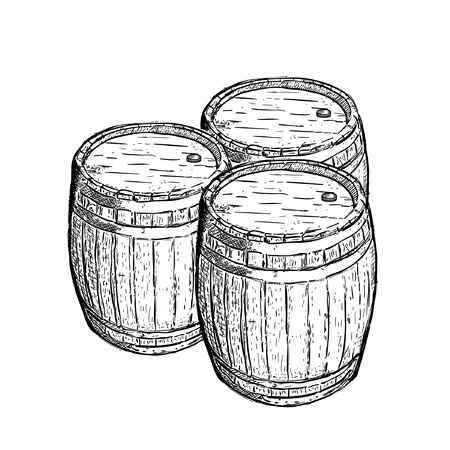 old engraving wine beer barrel