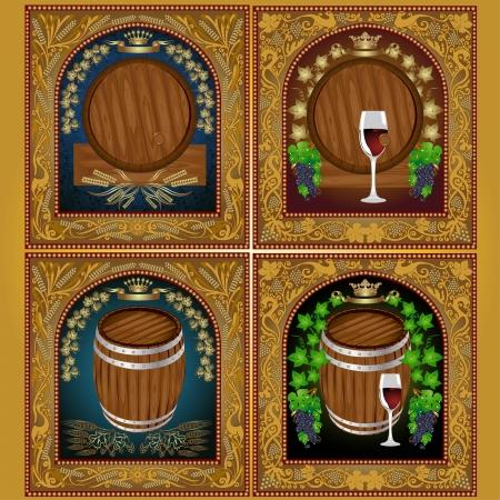 luxury beer wine set label banner Vector