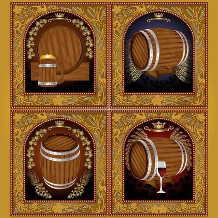 luxury gold beer wine set label banner Vector