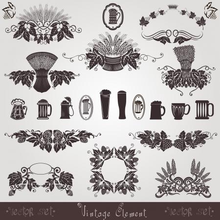 cups silhouette: beer vintage old element mug hop grain
