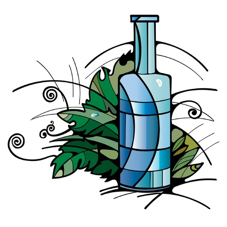 wine juice soda bottle steine glass Vector