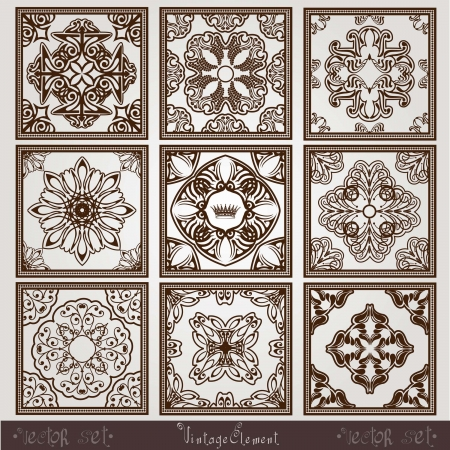 vintage square pattern Stock Vector - 16055134
