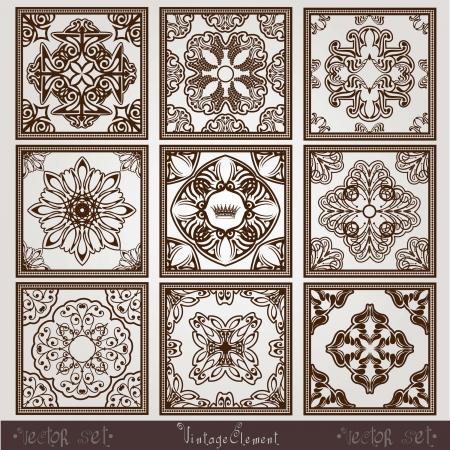 side border: vintage square pattern
