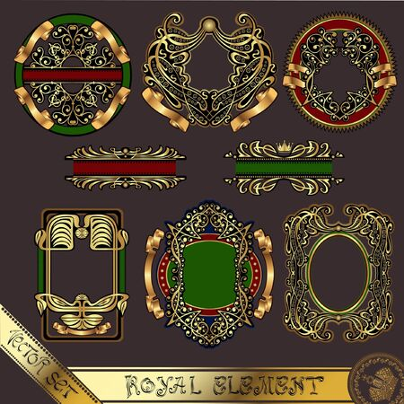 gold royal label element vintage Vector