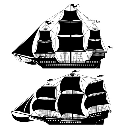 vecchia nave: due vecchia nave Vettoriali