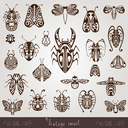 vintage insect silhouette set Illustration