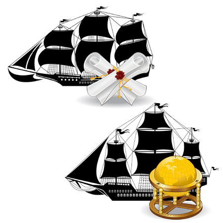 nautic: nautic pirate ship with marine supplies scroll and globe Illustration