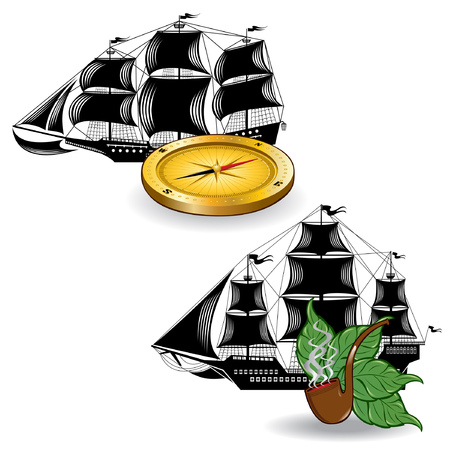 brigantine: nautic pirate ship with marine supplies pipe tobacco and compass Illustration