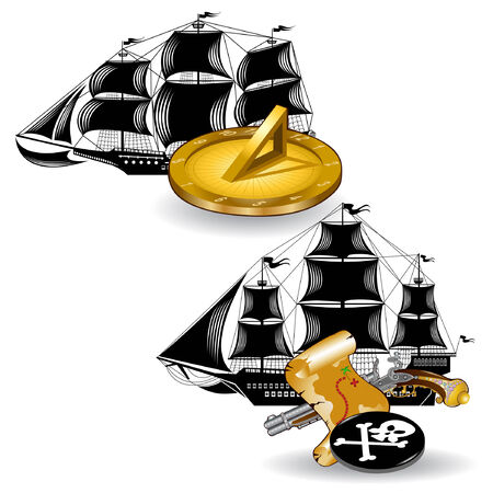 nautic pirate ship with marine supplies sun clock and gun with map Vector