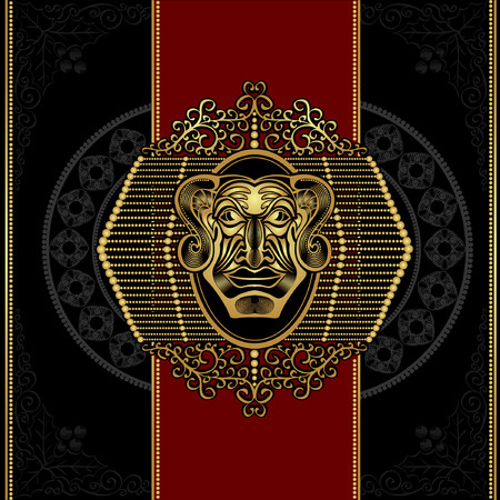 red on black: red black devil head luxury background Illustration