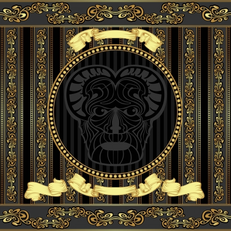 patern: luxury vector design viking head with golden pattern background