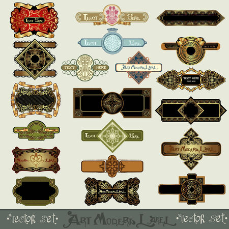 art nouveau label banner set Vector