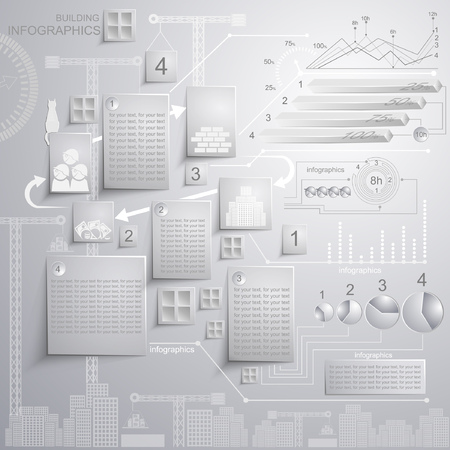 white infographics of building with statistic 向量圖像