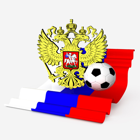 russian eagle arm with flag and soccer ball photo