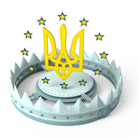 pitfall: euro stars and ukrainian coat of arm with trap Stock Photo