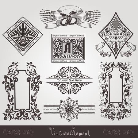silhouete: vintage set banners Illustration