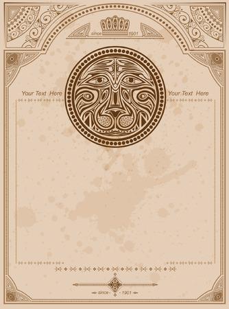 afrika: old background with lion circle label vintage background