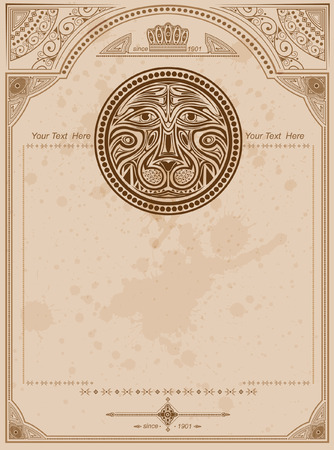 old background with lion circle label vintage background