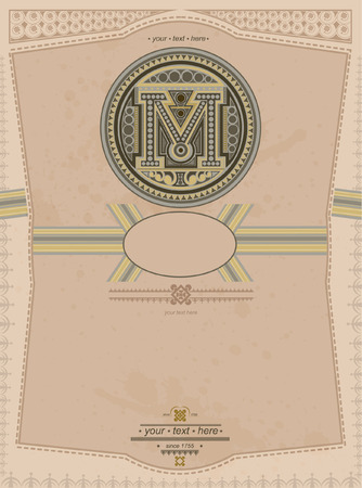 letter m: old background with capital letter m circle label vintage style Illustration