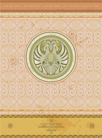 afrika: old background with eagle circle label vintage style
