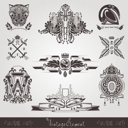 vintage element: old label vintage element
