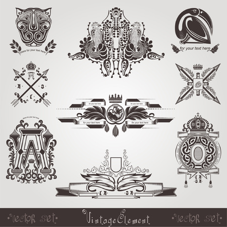 silhouete: old label vintage element