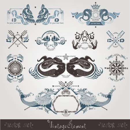 vintage marine engraving labels wih mermaid