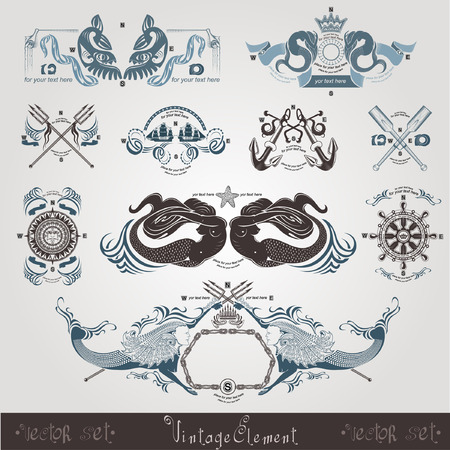 vintage marine engraving labels wih mermaid Vector