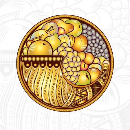 plenty: cornucopia or horn of plenty engraving background