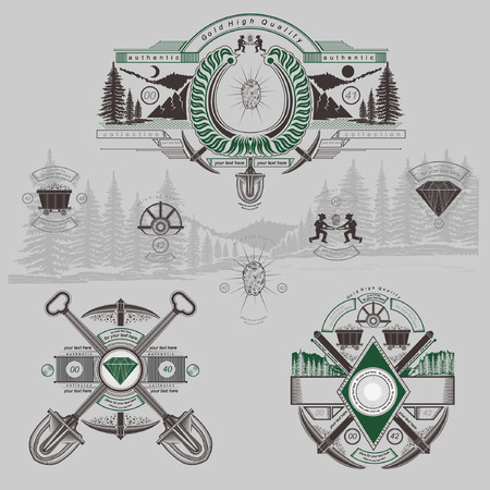 vintage golden and diamond mining engraving labels Vector