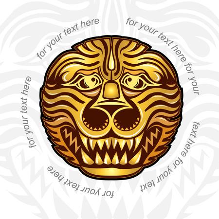 afrika: background with golden head of lion tiger or dragon Illustration