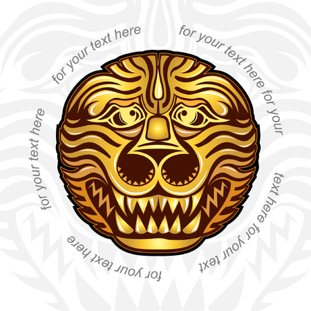 background with golden head of lion tiger or dragon Illustration