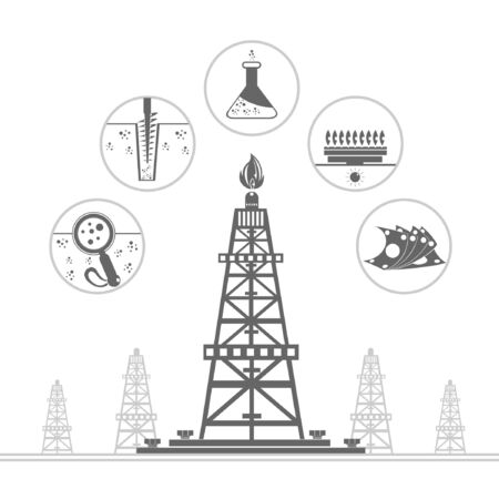 gas rig and circle icons with stages of process gas production  Illustration