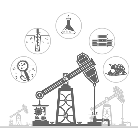 oil derrick and circle icons with stages of process oil production