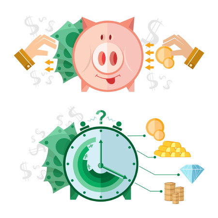 Set of flat design concept icons with deposit to piggy bank with big percentage and clock with money from it and coins gold diamond barrel near Vector