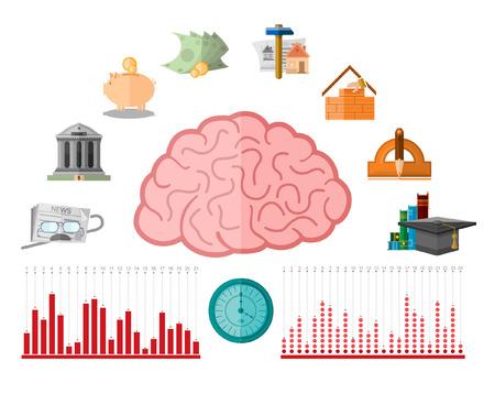 pensioen: platte illustratie met verschillende menselijke financiële leven periode van onderwijs naar pensioen die bestaan uit het bedrijfsleven iconen
