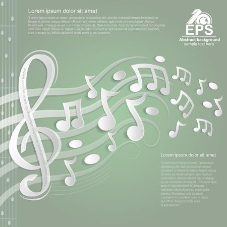 show bill: la luz del fondo de la m�sica verde con blanco clave de sol y otras notas en pentagrama de papel Vectores