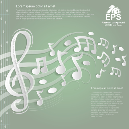 show bill: light green music background with white treble clef and other notes on stave from paper