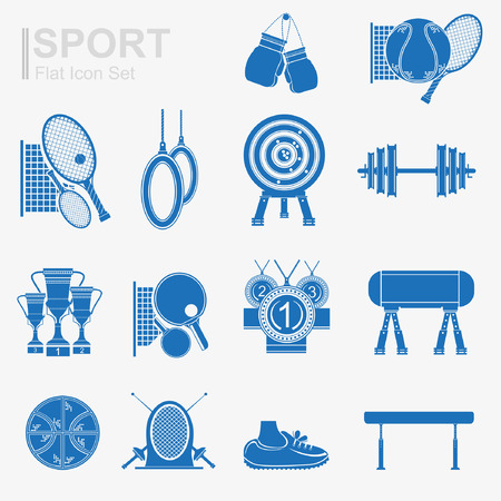 set of flat design sport icon with isolated blue silhouette sport inventory and sports equipment Vector