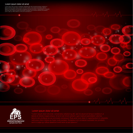 red medecine background with healthy blood with set of erythrocyte red cell closeup into blood and some places for your text Vector