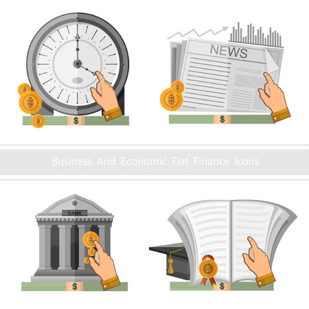 earn money: Flat design business icon earn and multiply money and time is money